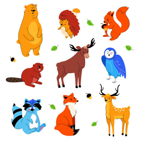 Cute forest animals - flat design style set of cartoon characters