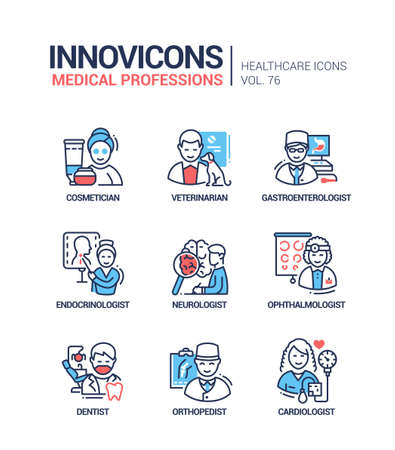 Medical professions line design style icons set