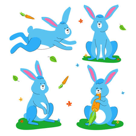 Cute rabbit - flat design style set of characters