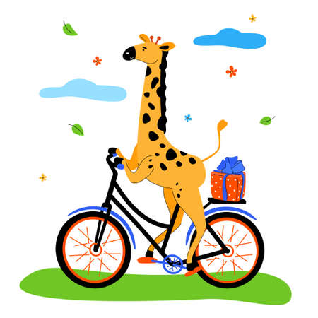 Cute giraffe cycling - modern flat design style illustration