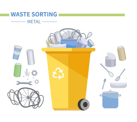 Metal waste recycling - modern flat design style illustration