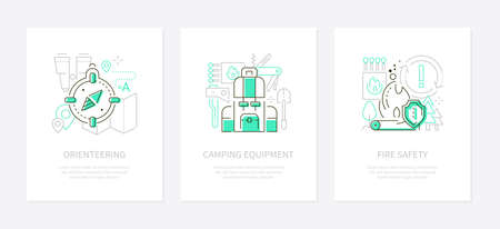 Tourism and camping - line design style banners