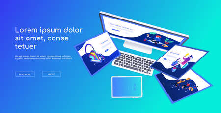 Creative workplace - modern vector colorful web banner