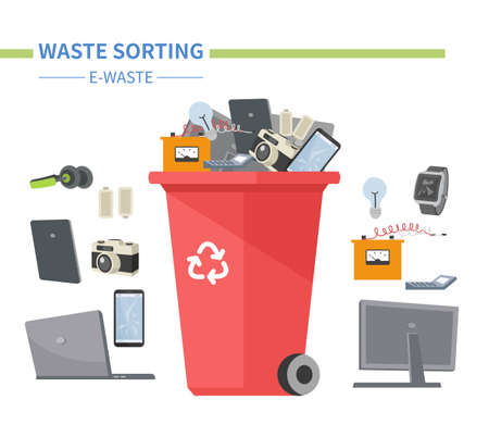 E-waste sorting - modern flat design style illustration