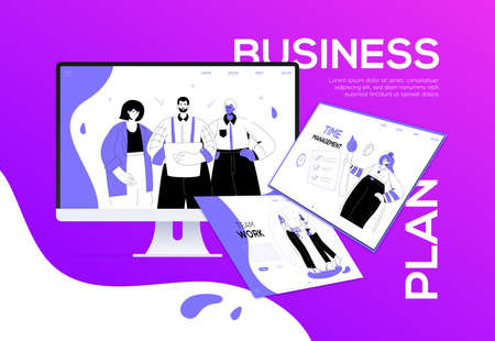 Business plan - flat design style colorful web banner