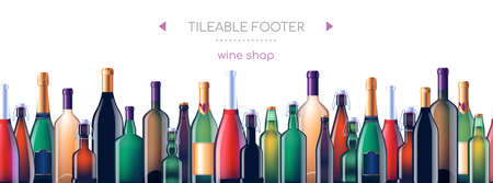 Alcohol glass bottles - vector realistic seamless web footer