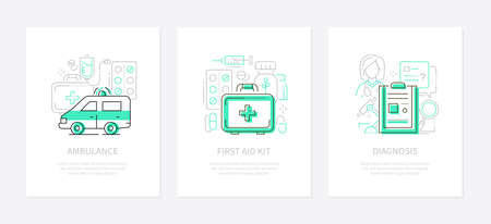 Medicine and healthcare - line design style banners