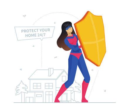 Property insurance metaphor flat design style vector illustration Stock Vector - 134239943
