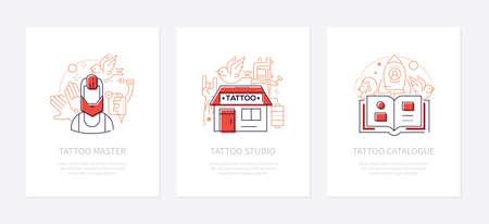 Tattoo studio - vector line design style banners set Ilustracja