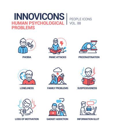 Human psychological problems line design style icons set Ilustração