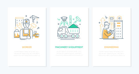 Construction industry - line design style banners set Ilustracja