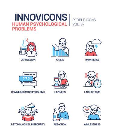 Human psychological problems line design style icons set Ilustracja