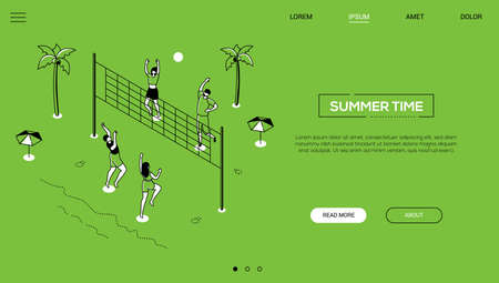Summer time - line design style isometric web banner on green background with copy space for text. A header with happy boys and girls playing volleyball on the beach, sunbathing. Vacation concept