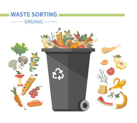 Organic waste recycling - modern flat design style illustration