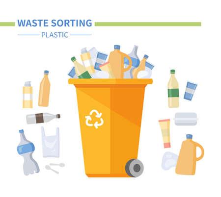 Plastic waste sorting - modern flat design style illustration
