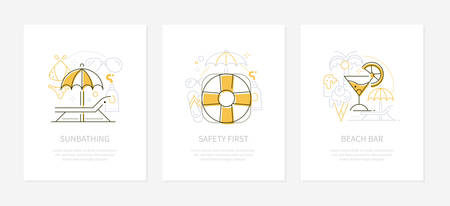 Summer vacation concept - line design style banners Illusztráció
