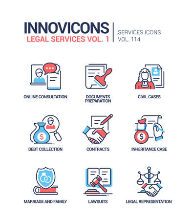 Legal services - line design style icons set