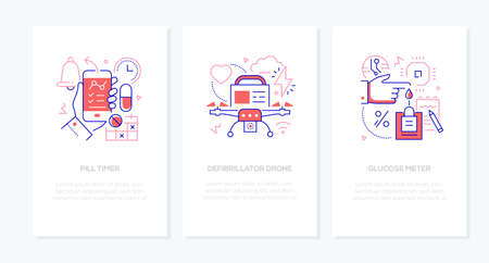 Modern medical digital devices - vector line design style banners set with place for text. Pill timer, defibrillator drone, glucose meter. Mobile apps for taking medicine, emergency, diabetes control