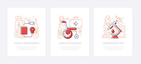 Medicine and healthcare - line design style banners with place for your text. Health monitoring, care of disabled, laboratory test themes. Linear illustrations with icons. Medical equipment items Zdjęcie Seryjne - 134679731