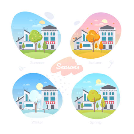 Four seasons - set of flat design style vector elements. Modern icons with an apartment building and a cafe, shop, urban landscapes. Summer, spring, winter, autumn parts of the year, weather types