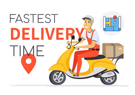 Fastest delivery time - vector cartoon character illustration Illustration
