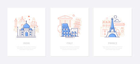Traveling and sightseeing - line design style banners with place for your text. Visit India, Italy, France ideas. Icons with landmarks, architecture. Taj Mahal, Colosseum, Eiffel tower images Иллюстрация