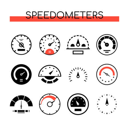 Different speedometers collection - set of vector elements on white background. Black images of various tachometers, velocity gauges. Speed measurement, fuel control in the car on a display panel