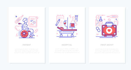 Medical clinic - vector line design style banners with place for text. Patient in a wheelchair, hospital, first aid kit illustrations with icons. Images of a ward with an infusor, pills and medicine Zdjęcie Seryjne - 134855537