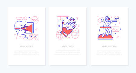 Virtual Reality concept - line design style banners set. Thin linear illustrations with place for your text. VR glasses, gloves, platform. Gaming, smart devices, modern technologies concept