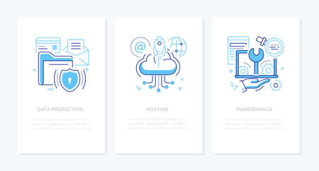 Datenschutz - Vektorlinien-Design-Stil-Banner mit Platz für Text. Sichere Informationen, Hosting, Wartungsideen. Lineare Illustrationen mit Symbolen. Bilder von Ordnern, Cloud-Speicher, Laptop