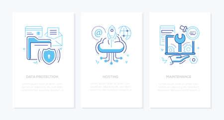 Protección de datos: banners de estilo de diseño de líneas vectoriales con lugar para el texto. Información segura, hosting, ideas de mantenimiento. Ilustraciones lineales con iconos. Imágenes de carpetas, almacenamiento en la nube, computadora portátil