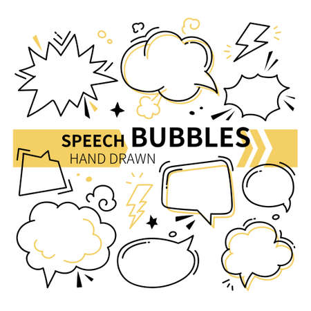Hand drawn speech bubbles collection - set of elements on white background. Decorative black linear comic signs of different forms. Thinking, dreaming, dialog, conversation, bright idea symbols
