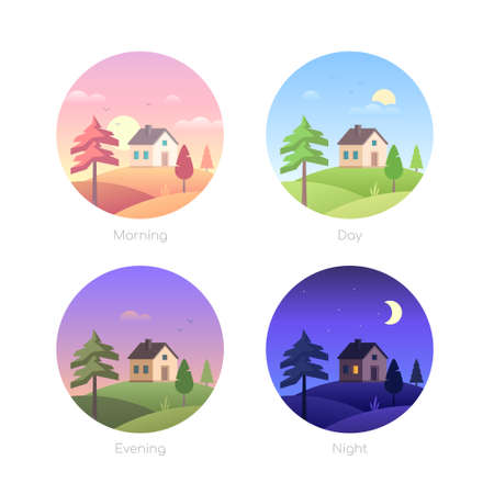 Parts of the day - set of flat design style vector elements in round frames. Modern icons with cottage houses, buildings, countryside landscapes with a field. Morning, afternoon, evening, night themes