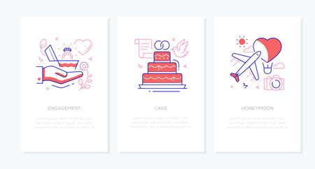 Boda y matrimonio - conjunto de banners de estilo de diseño de línea