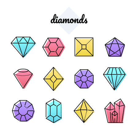 Set of diamonds - line design style objects isolated on white background. Blue, yellow, red, purple images of different minerals and crystals. Beautiful linear gemstones of various shapes and forms