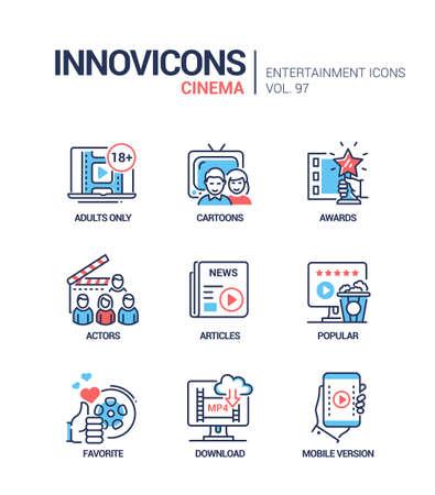 Cinema online service - vector line design style icons set