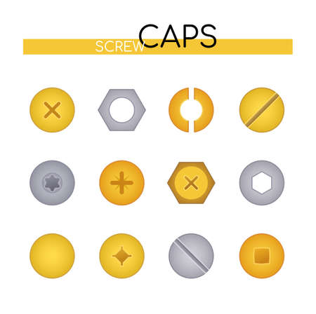 Screw caps collection - set of vector flat design style elements isolated on white background. Silver and golden colored images of metal, steel bolts, nails and nuts heads. Top view position of tools Ilustração