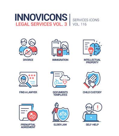 Legal services - line design style icons set Vektorové ilustrace