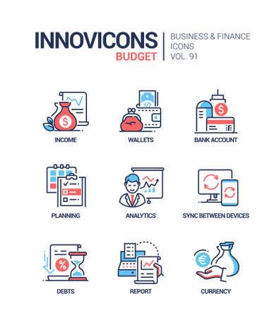 Budget - Vektorlinie Design-Stil-Icons gesetzt