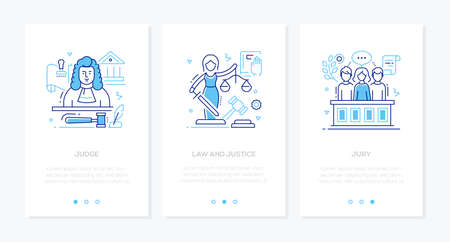 Law and justice - line design style banners set
