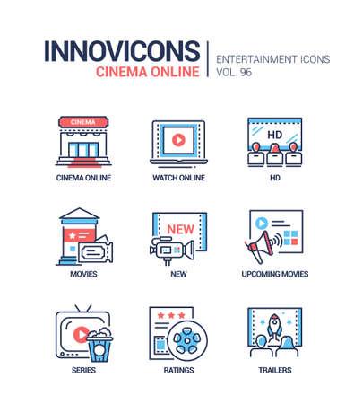 Cinema online - vector line design style icons set