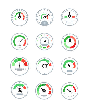 Different speedometers collection - set of vector elements isolated on white background. Colorful images of tachometers, velocity gauges. Speed measurement, fuel control in the car on a display panel