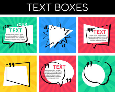 Text boxes collection - set of vector elements 向量圖像