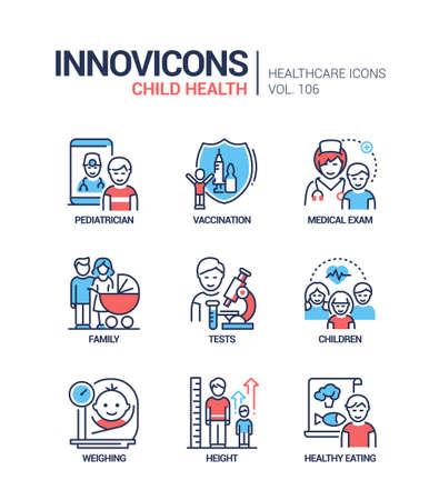 Child health - vector line design style icons set