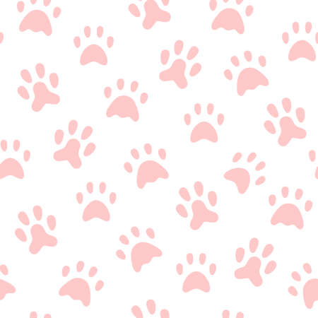 Cat footprints collection - flat design style seamless background  イラスト・ベクター素材