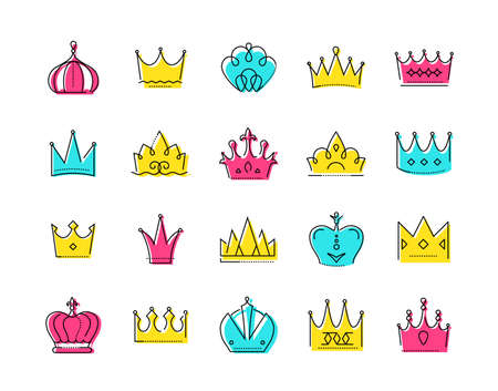 Crowns collection - set of colorful vector icons Çizim