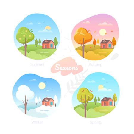 Four seasons - set of flat design style vector elements