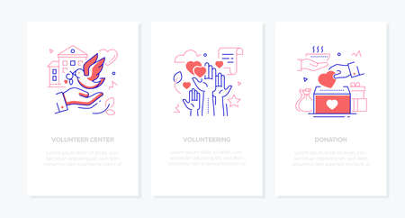 Volunteering - vector line design style banners set