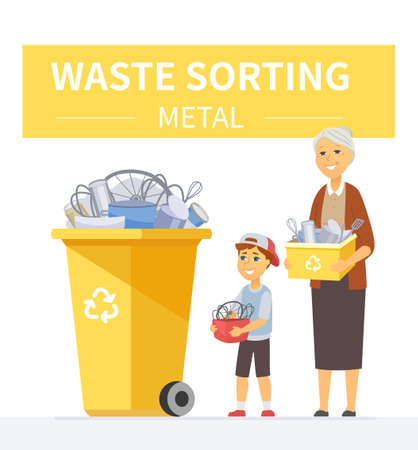 Metal waste recycling - modern cartoon people characters illustration Archivio Fotografico - 138440329
