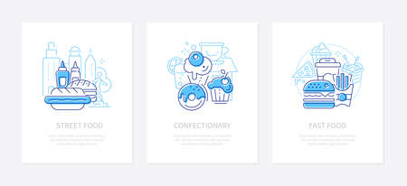Street and fast food - line design style banners